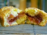 Orange Ricotta Muffins with Strawberry Jam