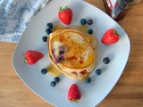 Patriotic Buttermilk Pancakes with Blueberries and Strawberries