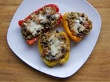 Secret Recipe Club ~ Quinoa, Black Bean and Turkey Stuffed Peppers