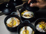 Baked eggs with shichimi togarashi and kimchi