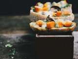 Butternut squash and green chutney tartines