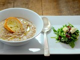 Chestnut and crab soup with arugula and feta cheese salad