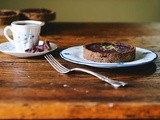 Cranberry walnut cream whole-rye tartlets