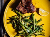 Grilled lamb chops with asparagus and green beans