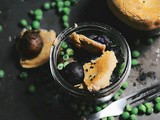 Mini-samosa pot pies with tricolored marble potatoes and peas