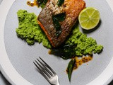 Pan-fried salmon with green coconut chutney