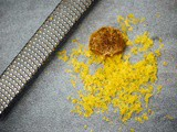 Salt cured egg yolk seasoned with garam masala