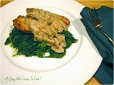 Chicken Cutlets with Mushroom Sauce and Wilted Spinach