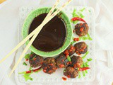 Asian Meatballs with Chocolate Satay Sauce #Choctoberfest