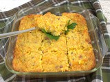 Ham & Cheese Corn Casserole (Spoon Bread) for #SundaySupper