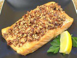 Maple Bourbon Oven Glazed Salmon with Pecan Topping