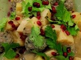 Lamb with Quince Sprinkled with Pomegranate Seeds & Coriander