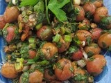 Olive Piyaz/Zeytin Piyazı -  a salad of green olives with walnuts and pomegranate molasses