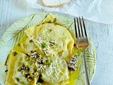 A taste of Ireland: Goats cheese & New Zealand Spinach Ravioli with nastursium seeds in a mint and lemon butter sauce