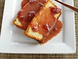 Greek Yogurt Pound Cake with White Chocolate Strawberry Sauce