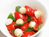 Bocconcini Salad with Tomato and Basil and Balsamic Vinegar Dressing