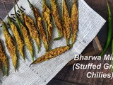 Bharwa Mirchi / Besan Stuffed Mirchi / Stuffed Green Chili Fry
