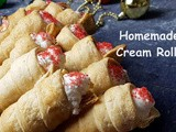 Christmas Special: Eggless Cream Rolls with Homemade Puff Pastry Sheets