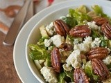 Brussels sprout and blue cheese salad with maple candied pecans