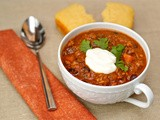 Crockpot turkey chili with butternut squash & apples ... and best-evah cornbread