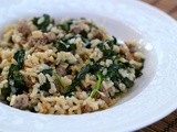 Sausage and spinach rice bowl: a recipe