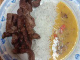 Quick Shallow fried beef strips with daal chawal
