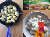 Baby perlas potatoes two ways: hot 'in padella', and salad with flowers