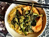 Chinese broccolini (Kai Lan) with fried tofu and noodle, and some photos of Bangkok