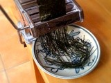 Cutting nori seaweed with a pasta machine
