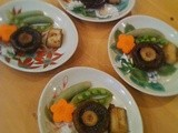 Japanese side vegetables with mushroom and mochi