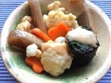 Konnyaku and vegetables with Japanese dressing