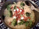 Linguine with broccoli... and some semi-dried tomatoes and feta too