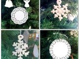 Meringue snow flakes and doilies for the Christmas tree