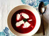 Red beetroot soup with fresh goat cheese
