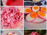 Red Beetroot with Wasabi Mayonnaise and Pink Eggs for Easter