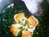 Spinach with Halloumi and Chinese garlic chives, quick comfort food