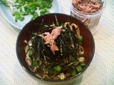 Spring soba with nori tagliolini, onion weed and salted sakura (cherry blossoms)