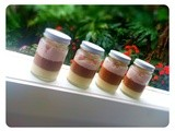 Three Layer Puddings in a Jar: Vanilla, Chocolate and Plum Cream