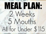 Meal Plan: 2 Weeks, 5 Mouths, All for Under $115
