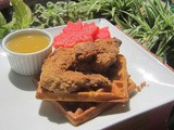 Waffle with fried chicken wings