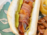 Bacon Wrapped bbq Cheddar Dogs #SecretRecipeClub