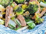 Beef Stir Fry with Leeks, Broccoli, & Bok Choy