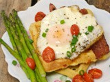 Cheesy Cornmeal Waffles with Fried Eggs #SecretRecipeClub