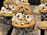 Chocolate Chip Cookie Dough Cupcakes #Choctoberfest