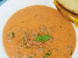 Creamy Tomato Basil Soup with Sausage: src