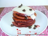 Red Velvet Pancakes with Cream Cheese Glaze