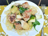 Tuscan Chicken Meatballs, Artichoke, and Spinach Skillet: src