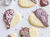 Valentine Chocolate Dipped Heart Cookies
