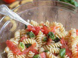 Warm Fresh Basil and Tomato Pasta Salad