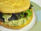Chicken, Avocado, Egg Salad on a Bogus Bun
